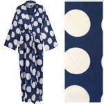 Women's Cotton Dressing Gown Kimono - White Spots on Dark Blue