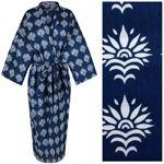 Women's Kimono Dressing Gown - Sun Flower White on Blue - outlet