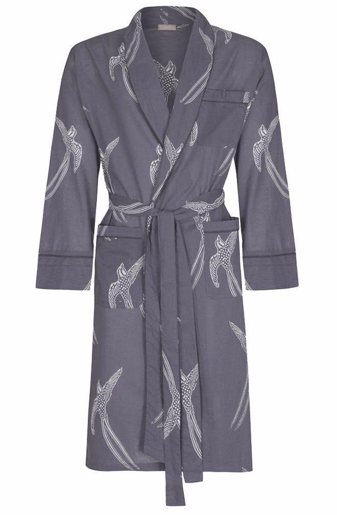 Men's Dressing Gown - Long Tailed Bird White on Grey - outlet