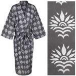 Women's Kimono Dressing Gown - Sunflower White on Grey - outlet