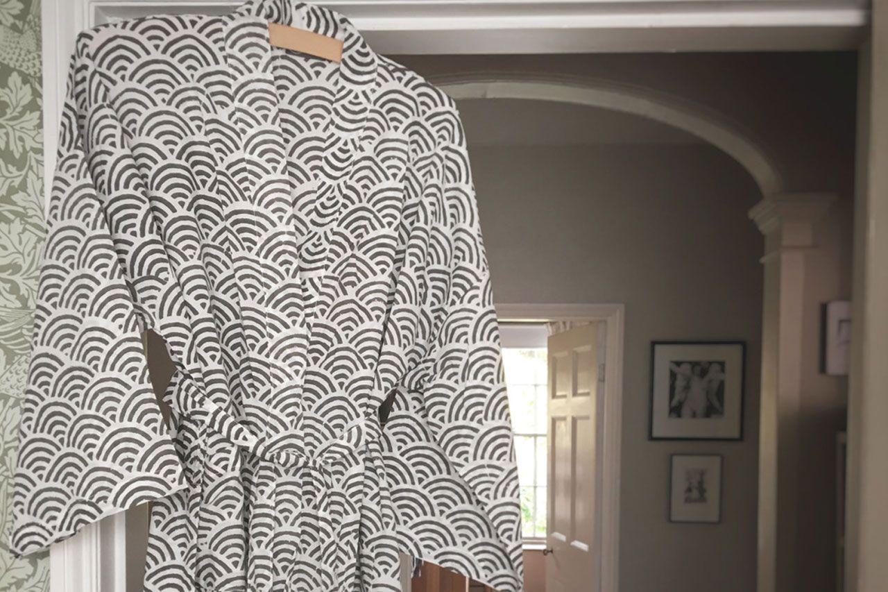 Rainbow Grey Kimono Robe Dressing Gown