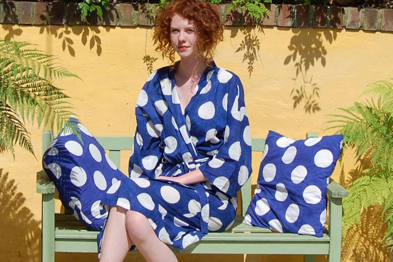 White Spot Kimono Robe Dressing Gown