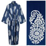 Women's Cotton Dressing Gown Kimono - Paisley White on Dark Blue