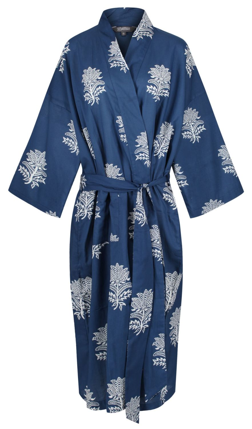 Kimono Dressing Gown - Tiger Flower White on Dark Blue - outlet