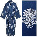 Women's Kimono Dressing Gown - Tiger Flower White on Dark Blue - outlet