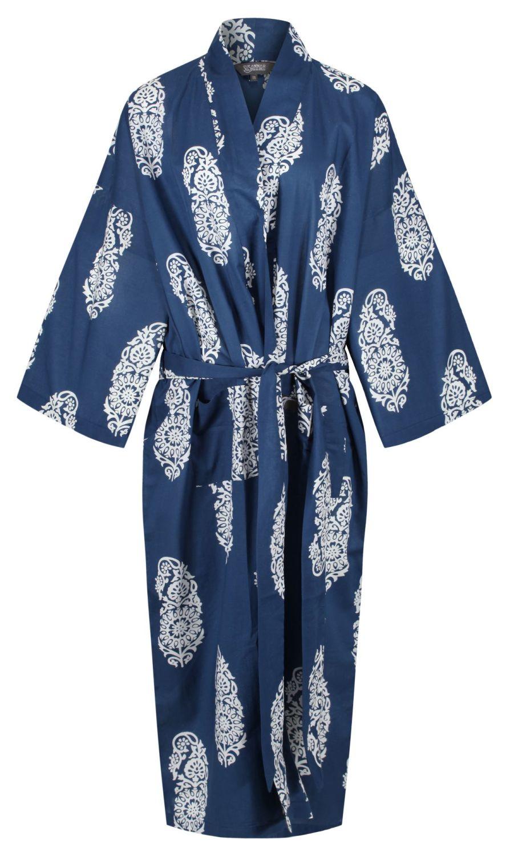 Kimono Dressing Gown - Paisley White on Dark Blue - outlet