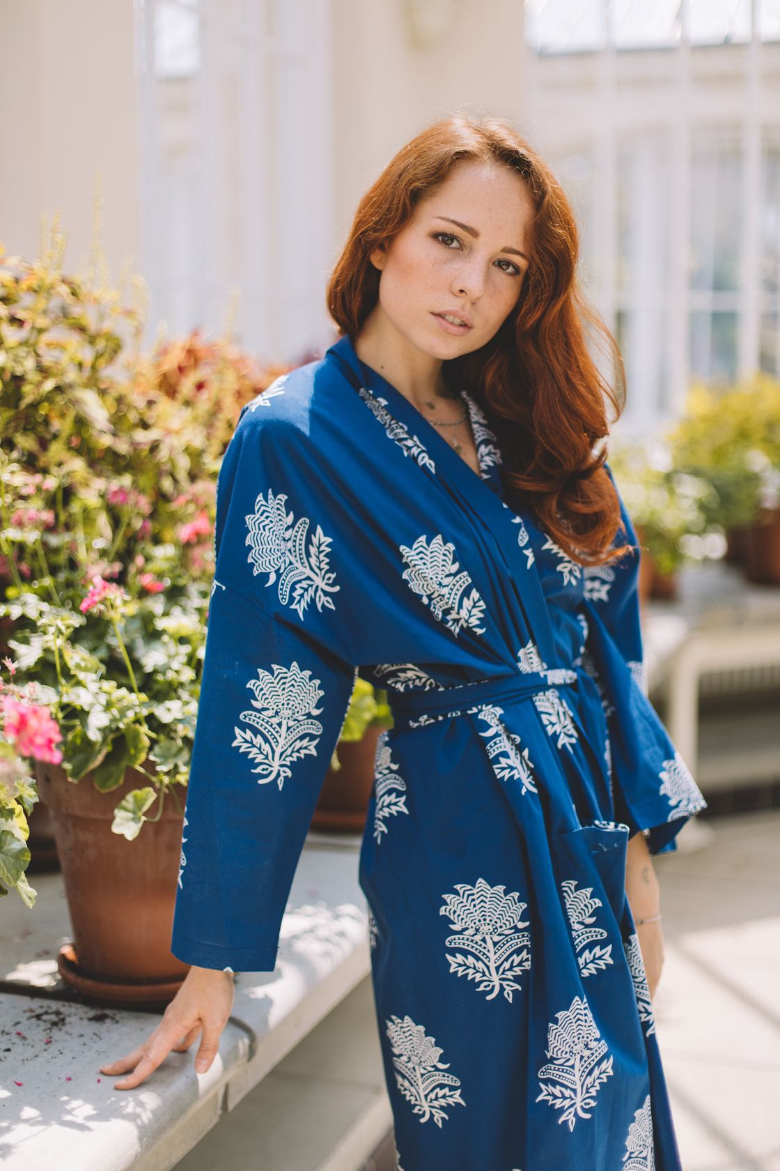 Tiger Flower White on Dark Blue Dressing Gown