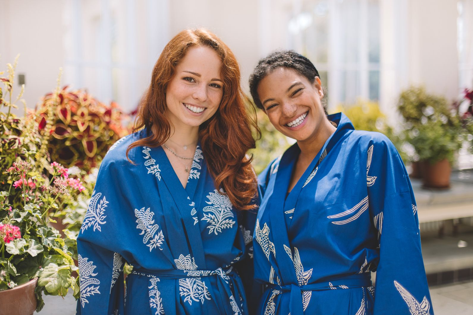 Tiger Flower and Long Tailed Bird White on Dark Blue Dressing Gowns
