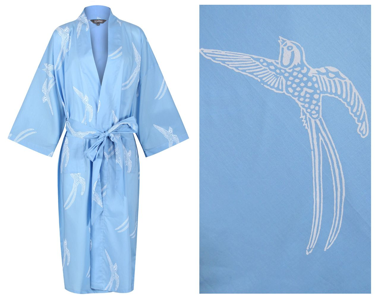 <!-- 001 --><b>NEW!! Women's Cotton Dressing Gown Kimono - Long Tailed Bird