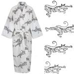 Women's Cotton Dressing Gown Kimono - Tigers on White