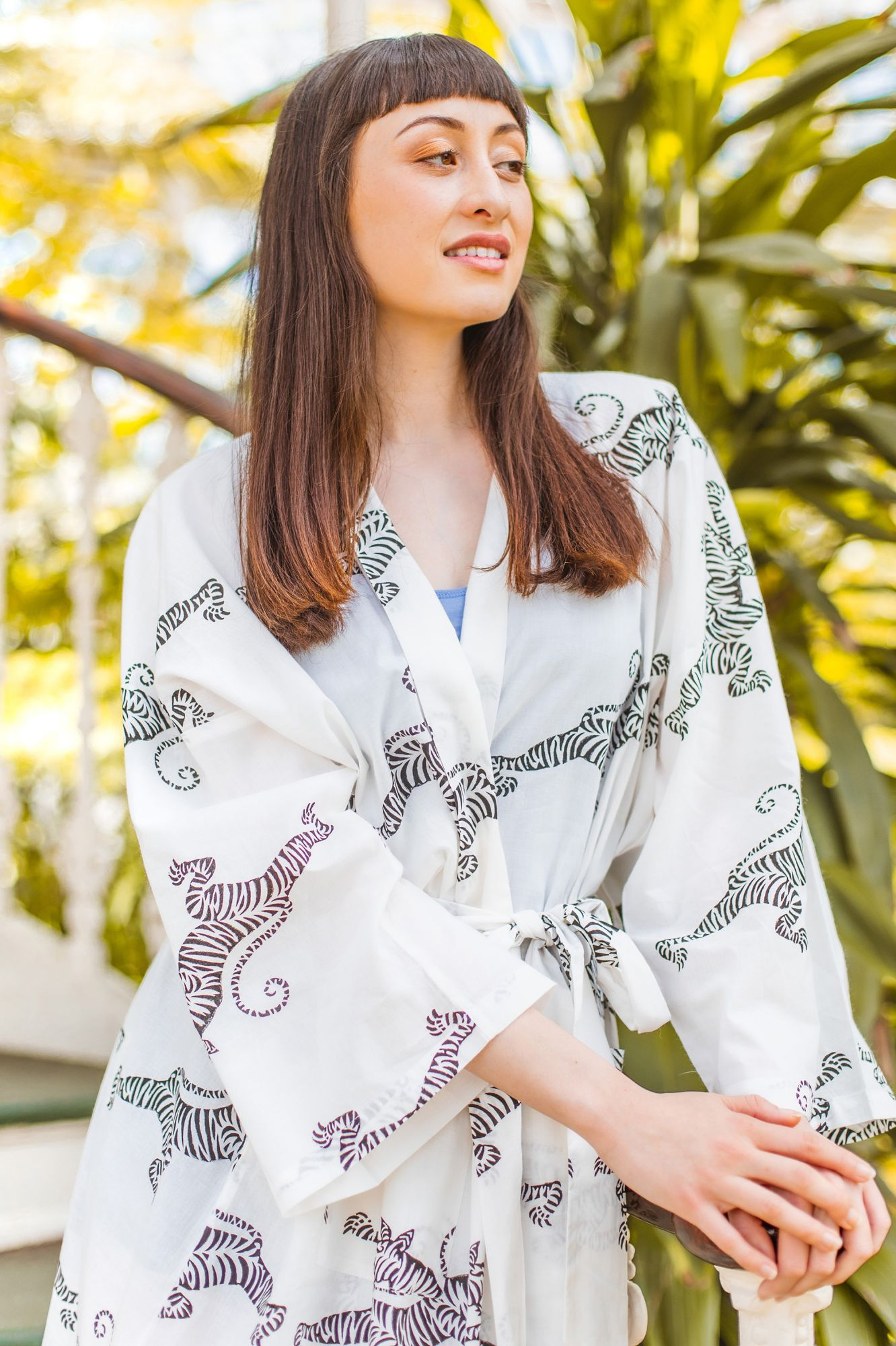 Long Tailed Bird Blue on WHite and Paisley Kimono Robe Dressing Gown