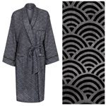 Men's Cotton Dressing Gown Robe - Rainbow Black on Grey