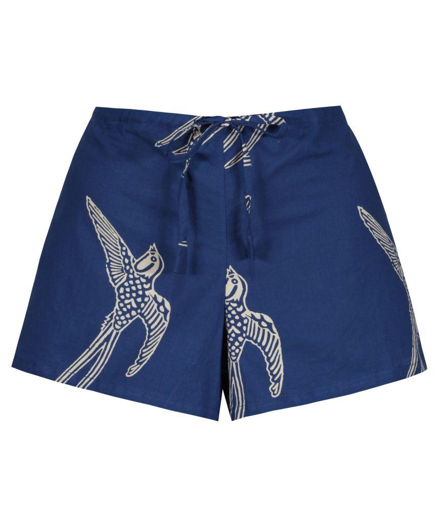Women's Cotton Shorts - Long Tailed Bird on Dark Blue