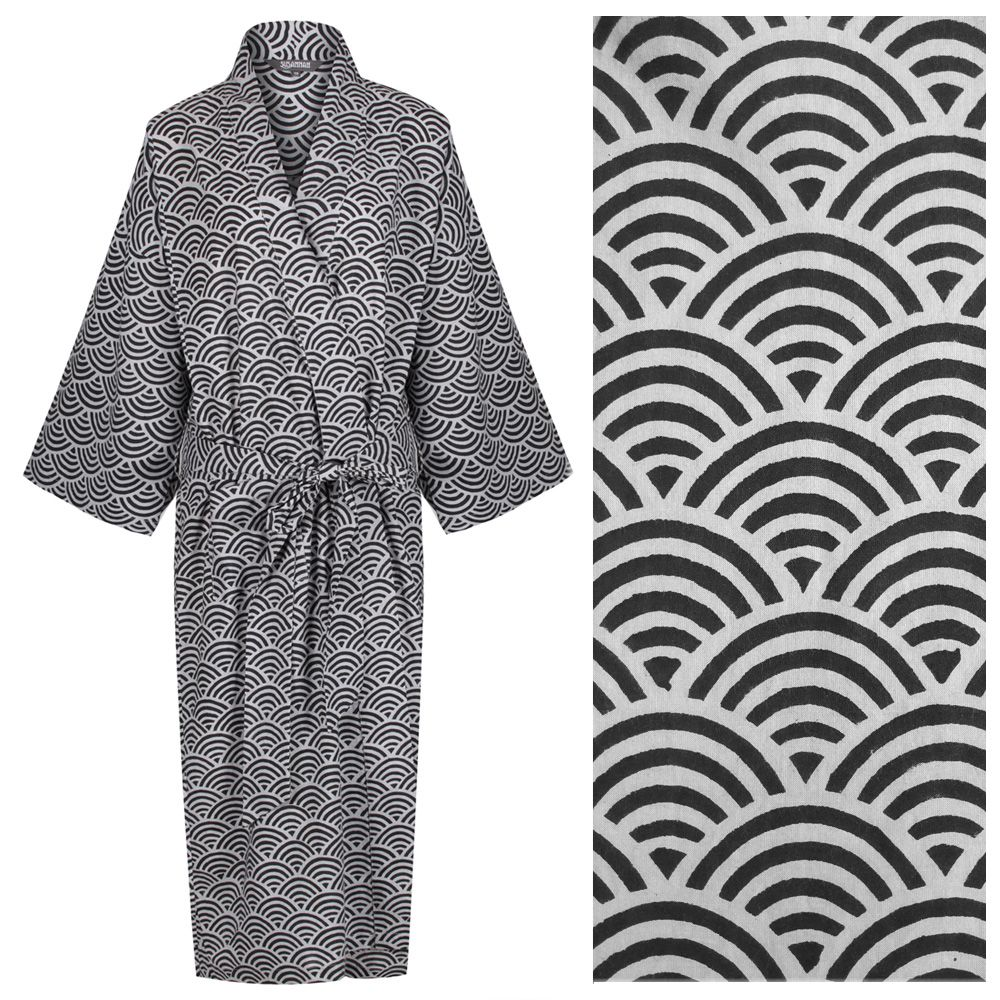 <b>Women's Cotton Dressing Gown Kimono - Rainbow Black on Grey</b>