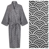 Women's Cotton Dressing Gown Kimono - Rainbow Black on Grey