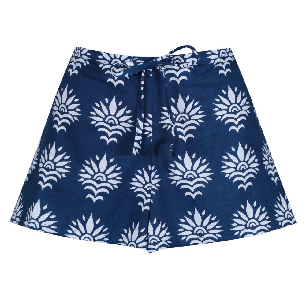 Women's Cotton Shorts - SunFlower on Dark Blue