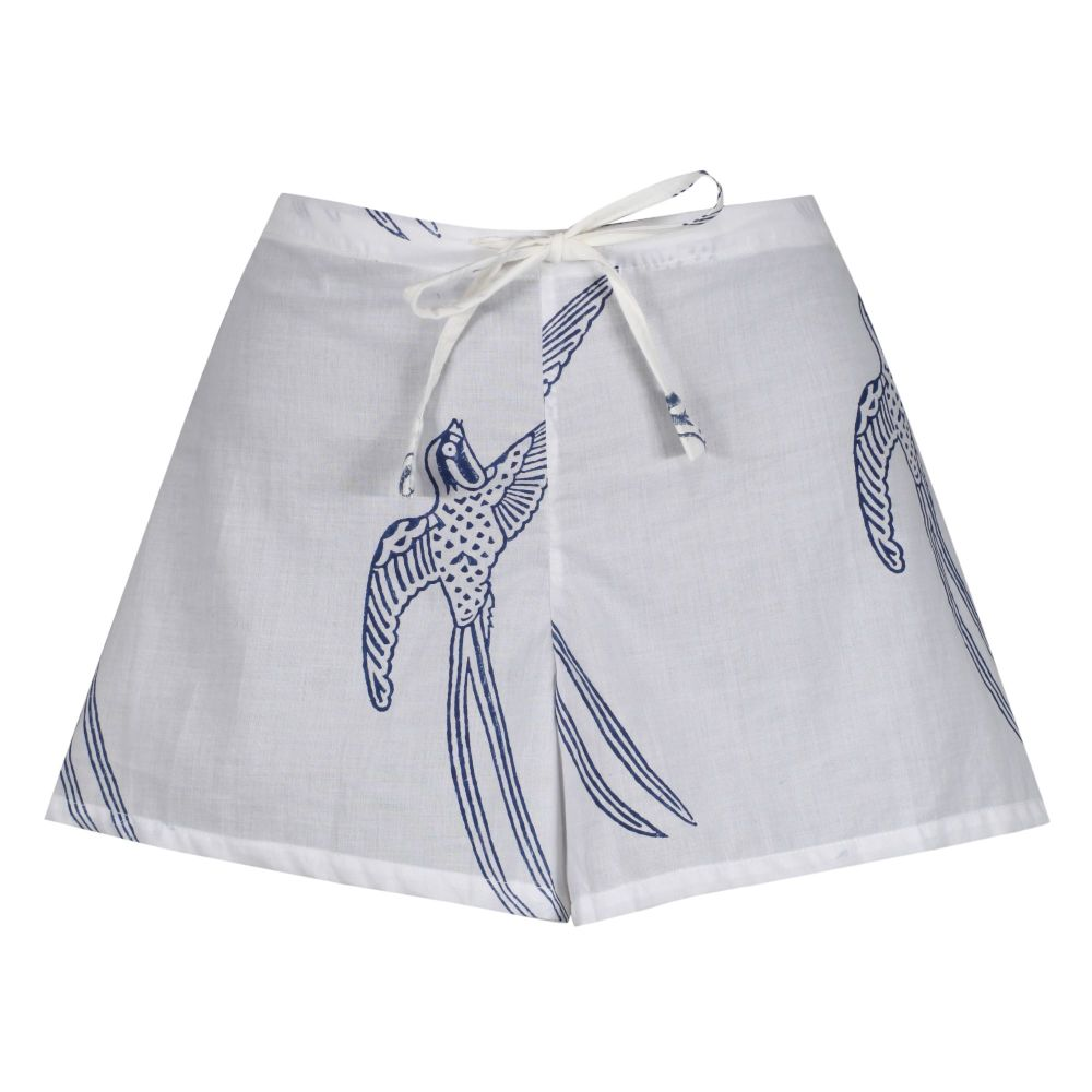 Women's Shorts - Long Tailed Bird Blue on White