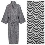 Women's Kimono Dressing Gown - Rainbow Black on Grey - outlet