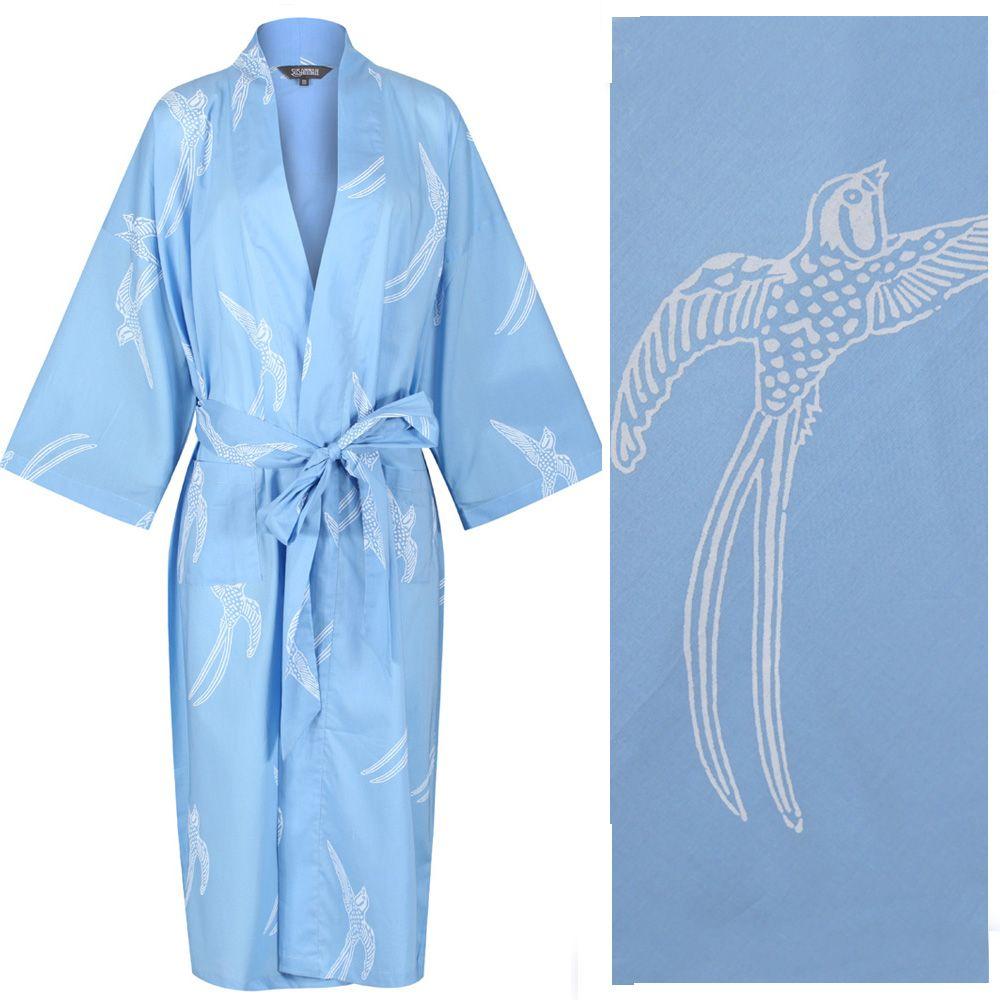 <b>Kimono Style Dressing Gown - Long Tailed Bird White on Powder Blue - out