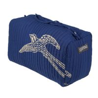 Wash Bag - Long Tailed Bird White on Dark Blue
