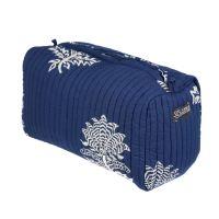 Wash Bag - Tiger Flower on Dark Blue