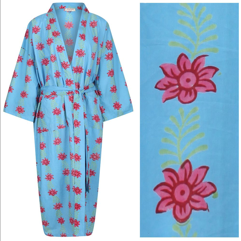 <b>Women's Cotton Dressing Gown Kimono - Blossom and Leaf Pink on Blue - ou