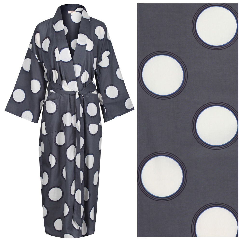 """Women's Cotton Dressing Gown Kimono - Cream Circles with Rings on Dark Grey (""""outlet"""" gown with minor imperfections)"""