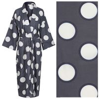 Women's Kimono Dressing Gown: Cream Circle with Rings on Dark Grey - outlet