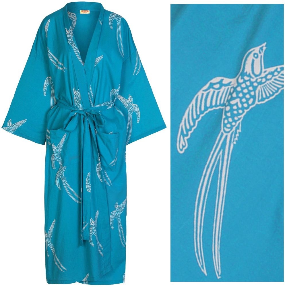 """Women's Cotton Dressing Gown Kimono - Long Tailed Bird White on Mid Blue (""""outlet"""" gown with minor imperfections)"""