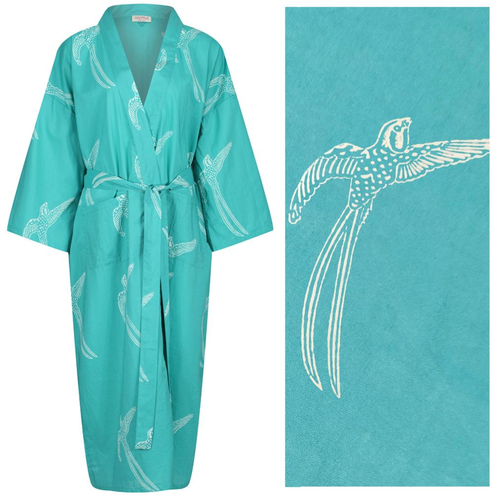 """Women's Cotton Dressing Gown Kimono - Long Tailed Bird White on Emerald Green (""""outlet"""" gown with minor imperfections)"""