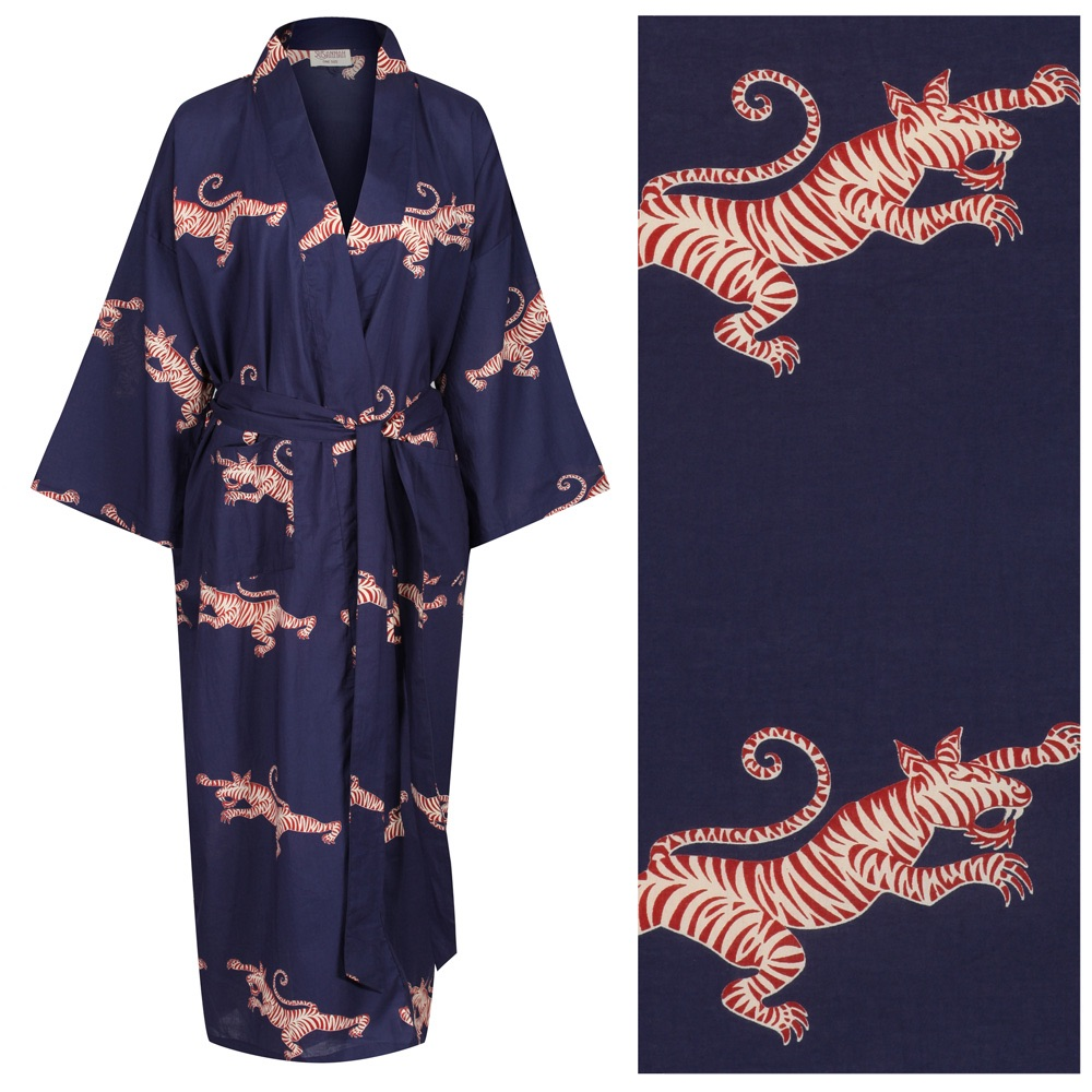 """Women's Cotton Dressing Gown Kimono - Fighting Tigers Red and Cream on Dark Blue (""""outlet"""" gown with minor imperfections)"""