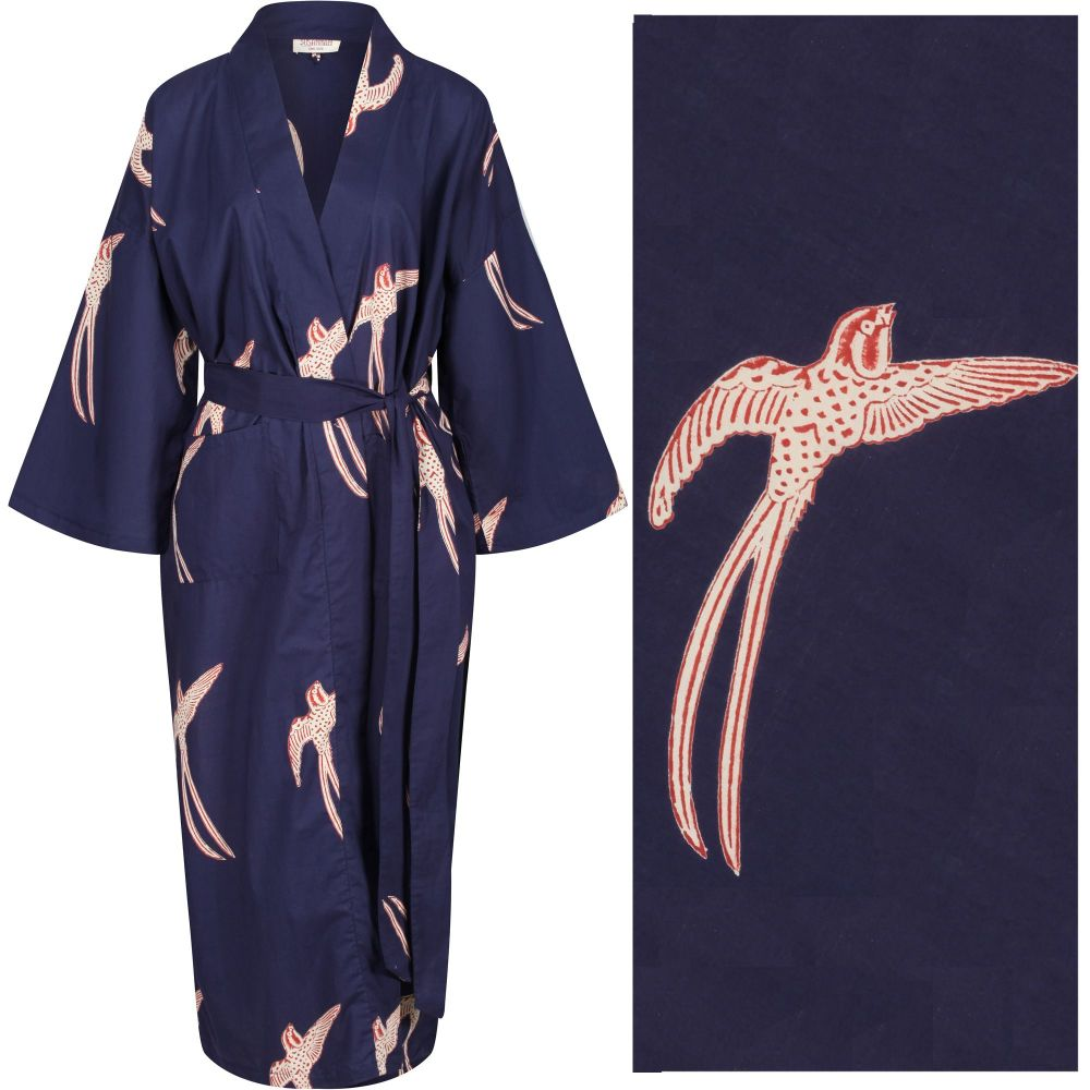 """Women's Cotton Dressing Gown Kimono - Long Tailed Bird Red and Cream on Dark Blue (""""outlet"""" gown with minor imperfections)"""