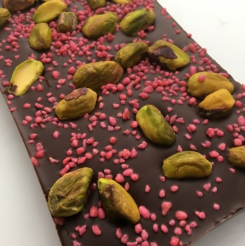 Pistachio and Rose Dark Chocolate Bar | caithness chocolate