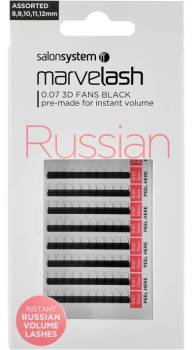 Marvelash Lashes Russian 0.07 3D Fans Assorted Sizes 110 Pack