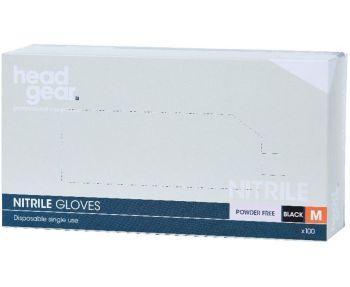 *VAT FREE HeadGear Gloves Nitrile Powder Free Black Medium 100 Pack