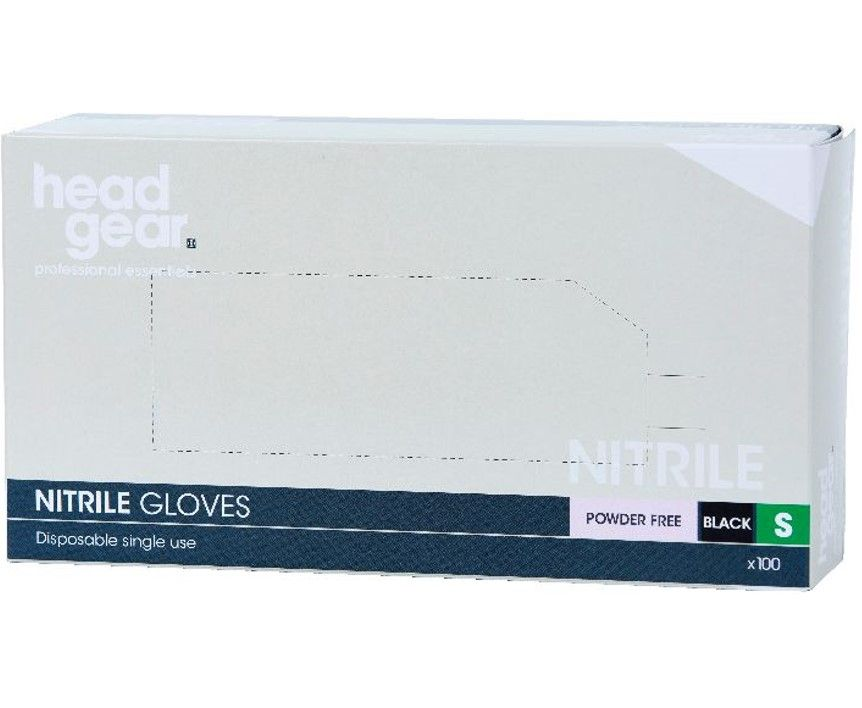 HeadGear Gloves Nitrile Powder Free Black Small 100 Pack