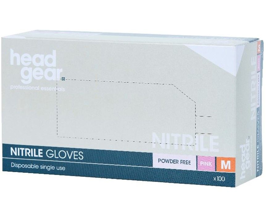 HeadGear Gloves Nitrile Powder Free  Pink Medium 100 Pack
