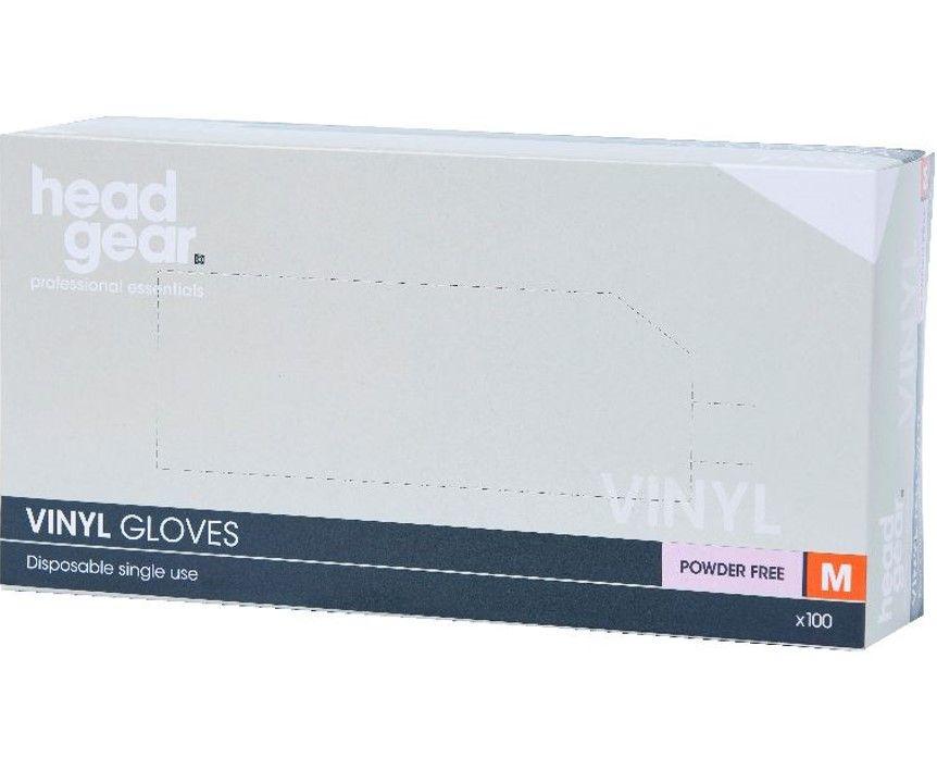 HeadGear Gloves Vinyl Powder Free  Medium 100 Pack