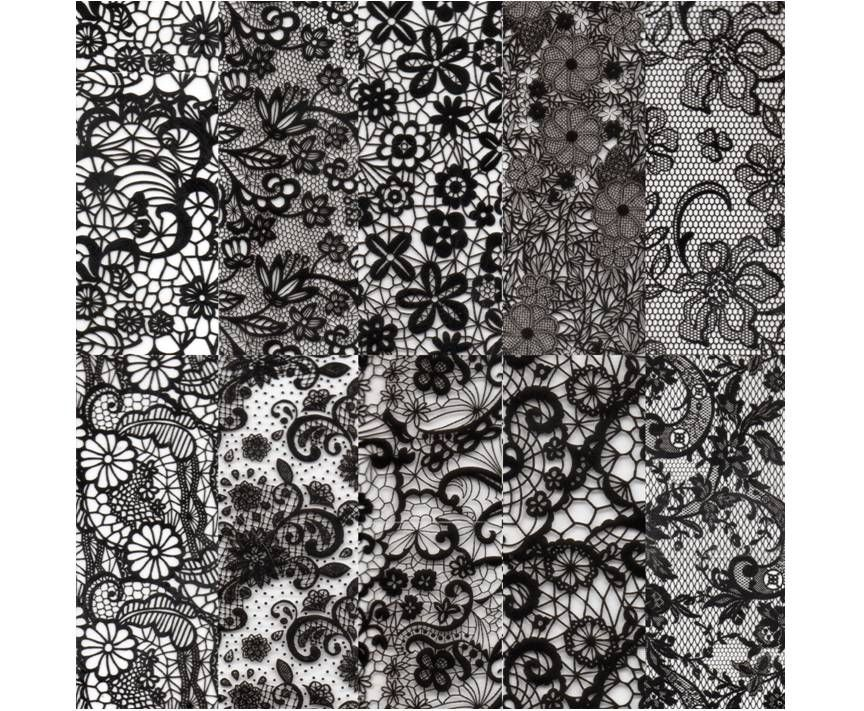 Halo Create Nail Foil Transfers Black Lace  10 Pack