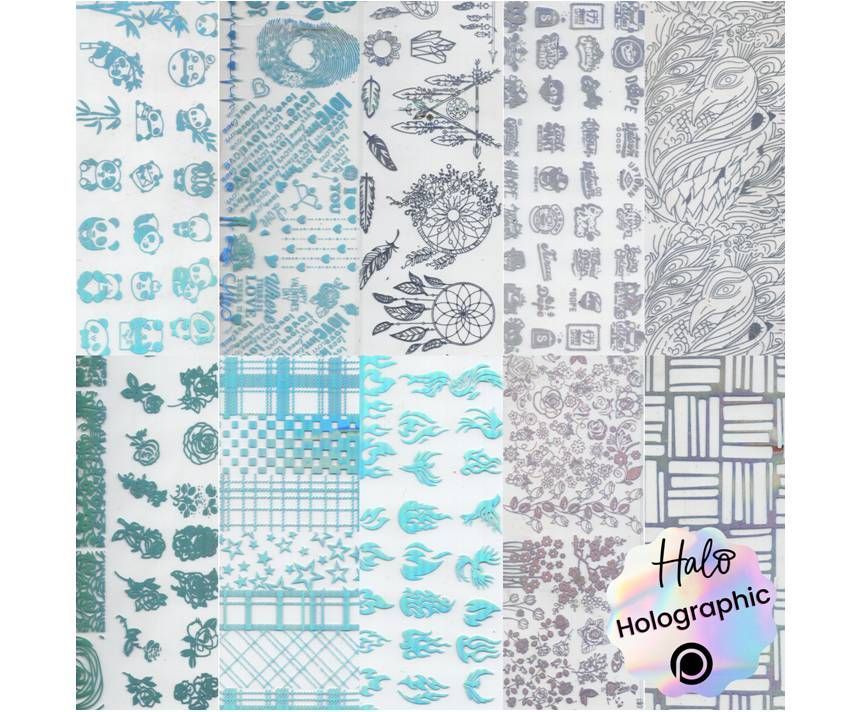 Halo Create Nail Foil Transfers Holographic Patterns 10 Pack