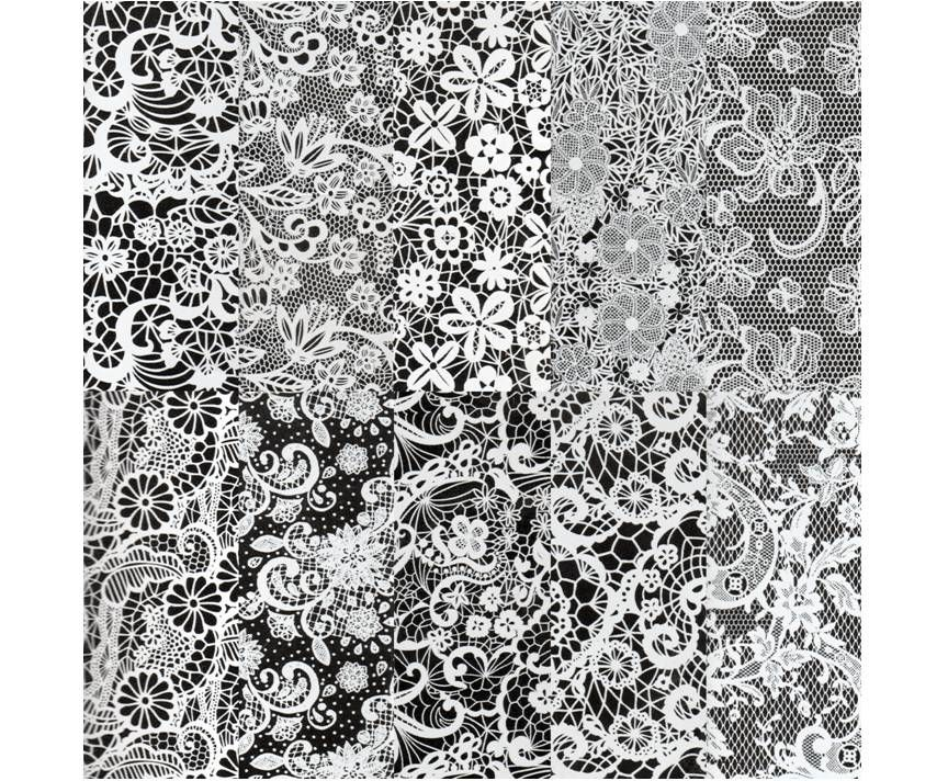 Halo Create Nail Foil Transfers White Lace 10 Pack