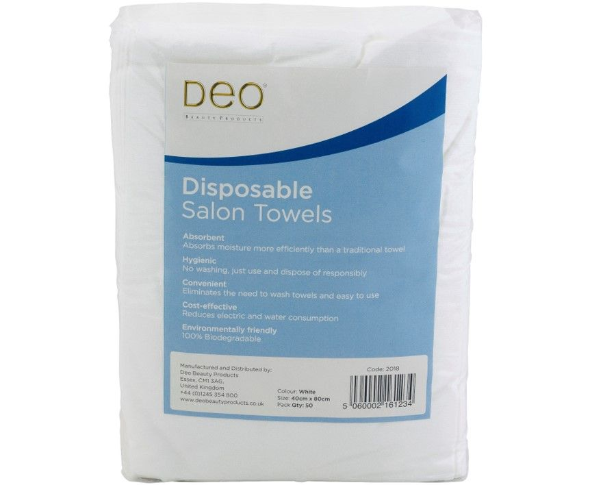 DEO Disposable Towels White 50 Pack