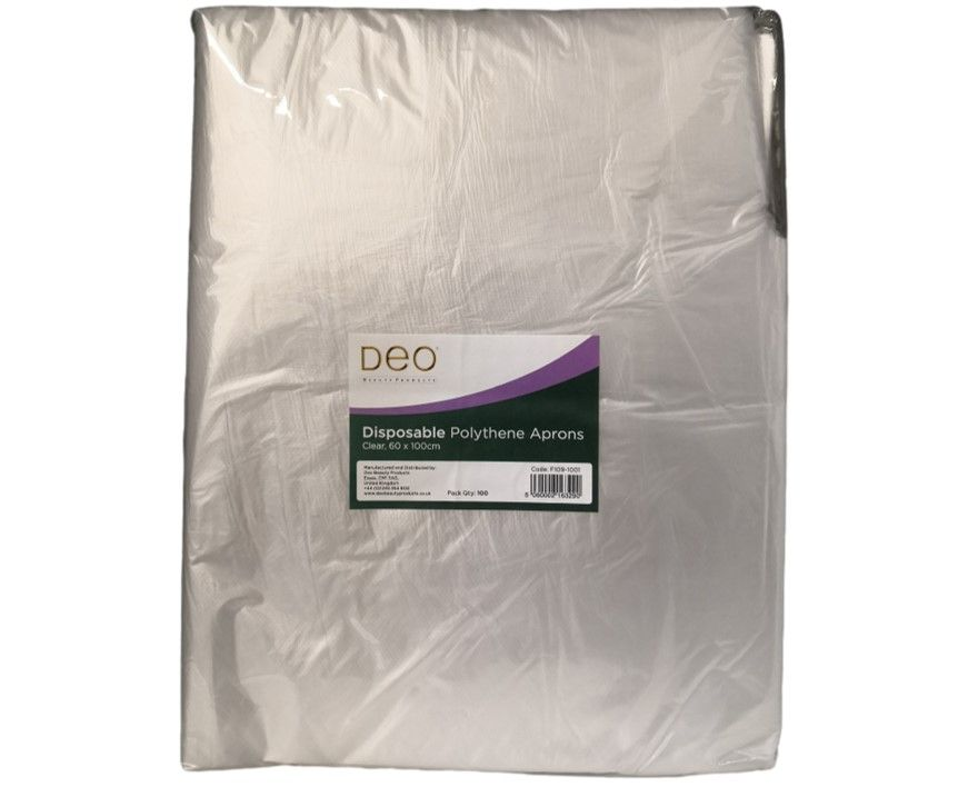 DEO Disposable Aprons Clear 100 Pack