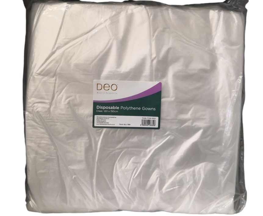 DEO Disposable Gowns Clear 100 Pack