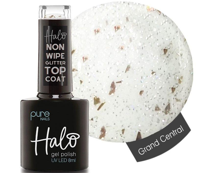 *PREORDER ETA: 29/10/21 Halo Gel Glitter Top Coat Grand Central Non Wipe 8ml