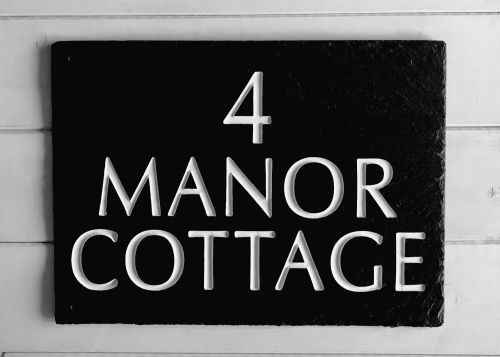 slate house sign manor cottage