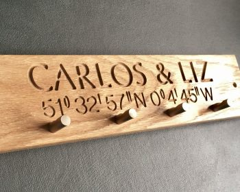 Personalised Coordinates Key/Coat Rack