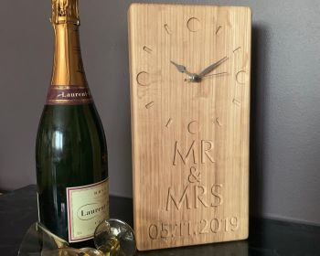 Personalised OAK Mr & Mrs clock