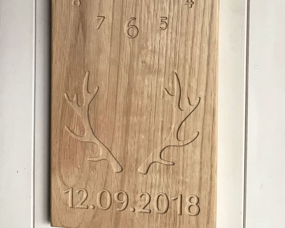 Personalised Solid Oak Wall Mounted Clock