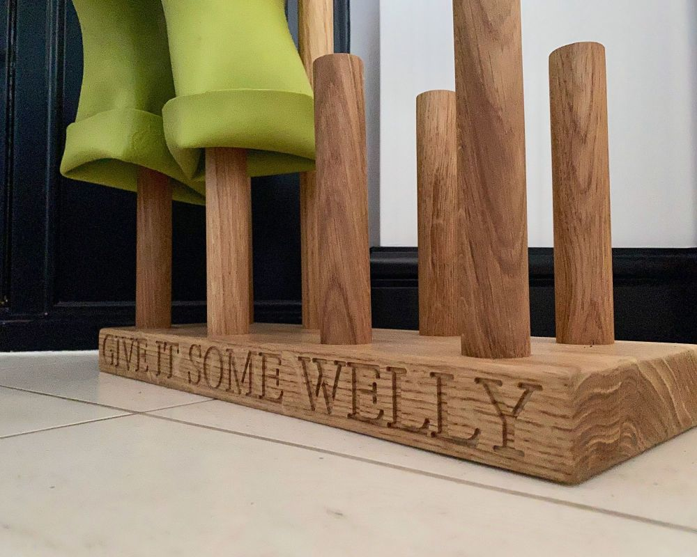 SOLID OAK WELLY BOOT STAND